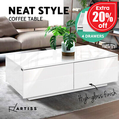 AU109.95 • Buy Artiss Modern Coffee Table 4 Storage Drawers High Gloss Tables Wooden White