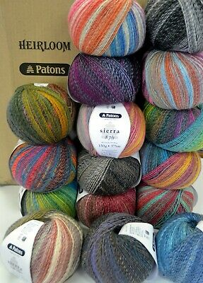 AU8.90 • Buy PATONS SIERRA 8 Ply - 16 COLOURS AVAIL - 150gm Ball 20% Wool, 80% Acrylic