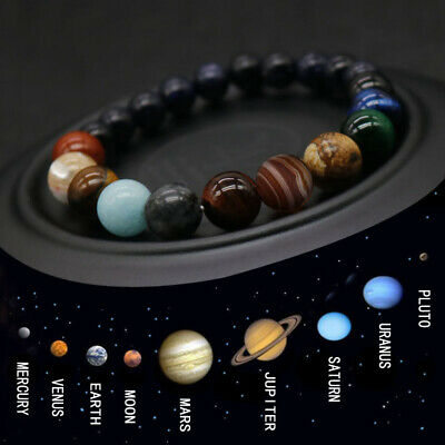 $1.94 • Buy Eight Planets Bead Bracelet Men Women Natural Stone Universe Yoga Chakra Bangle