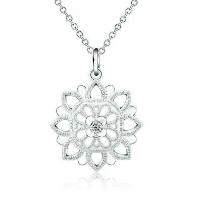 $ CDN4.41 • Buy Fashion Jewelry 925 Silver Zircon Lotus Flower Pendant Women Necklace LNY004