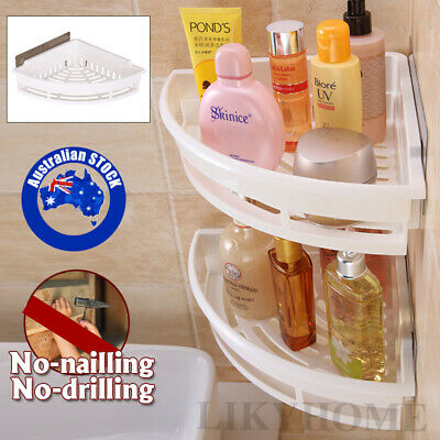 AU22 • Buy Bathroom Corner Rack White Triangle Shower Shelf Caddy Storage Wall Mount Holder
