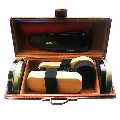 £6.95 • Buy Shoe Cleaning Care Kit Set For Brown Black Leather With Polish Brush Travel Case