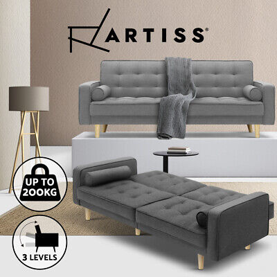 AU419.95 • Buy Artiss Sofa Bed Lounge Futon Couch Beds 3 Seater Fabric Wood Scandi 195cm Grey