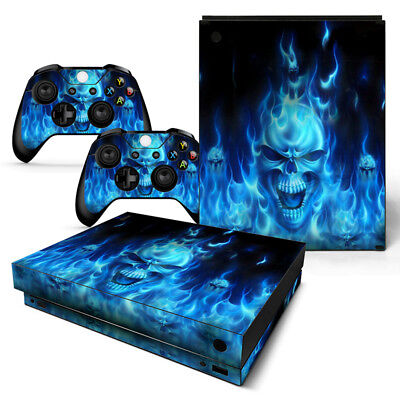 $14.97 • Buy Xbox One X Skin Console & 2 Controllers Blue Flame Skull Decal Vinyl Wrap