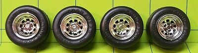 Parts - 1/25 9 Hole Chrome Rim W/ Raised Letter Goodyear Racing Tires • 6.50$