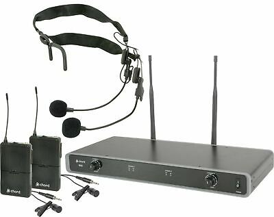 2 Channel UHF Wireless Microphone Lavalier Lapel Mic Receiver Dual Headset Set • 120.99£