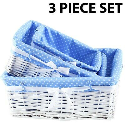 Set Of 3 Wicker Storage Baskets With Removable Stripe Fabric Lining Blue  • 9.99£