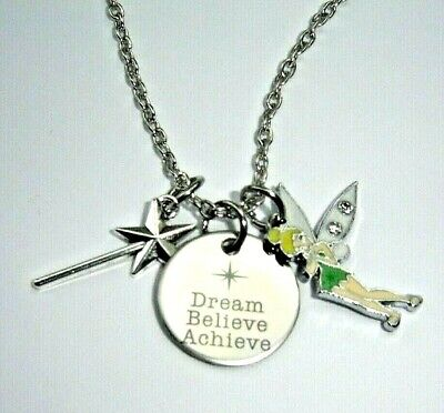 £3.99 • Buy Dream Believe Achieve Tinkerbell Fairy Quote Charms Necklace In Gift Bag