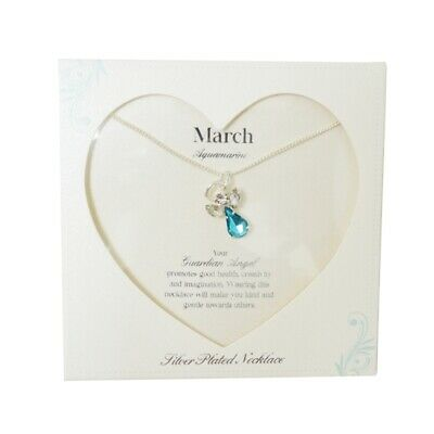 Guardian Angel March Birthstone Necklace With Gem Stone Sentimental Gift Idea • 7.99£