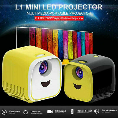 Portable Mini Pocket 1000Lumens 1080P Projector LED Home Theater HD USB HDMI 12V • 30.49£