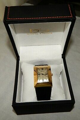 $50 • Buy Daniel Steiger Deco Drive Gold Stainless Case Leather Strap Watch NEW 9601G-M