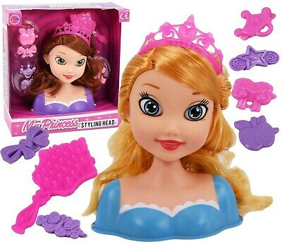 Dolls Hair Styling Head With Accessories Kids Girls Hairstyling Doll Toy Playset • 7.49£