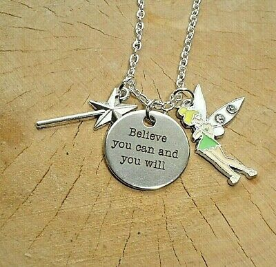 £3.99 • Buy Tinkerbell Fairy Believe You Can And You Will Quote Charm Necklace In Gift Bag