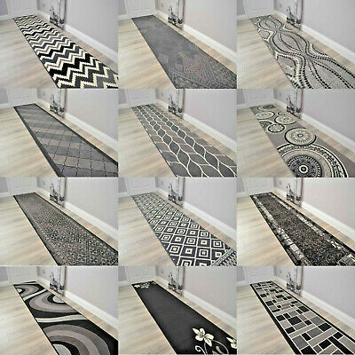 Black Grey Silver Extra Long Very Wide Narrow Hall Hallway Runner Rugs Small Mat • 11.99£