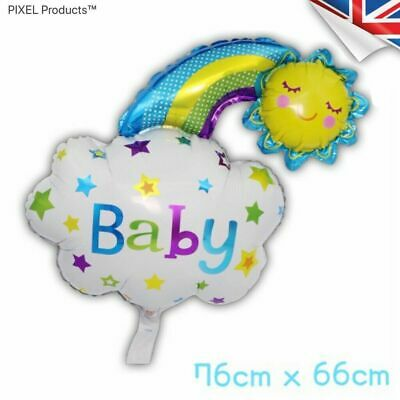 Baby Shower, Gender Reveal - Blue Rainbow Cloud Foil Balloons  (3 For 2) • 2.99£