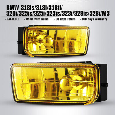 $29.26 • Buy For 92-99 BMW 3 Series E36/M3 Driving Fog Light Yellow Glass Lens Pair Lamps