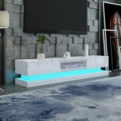 AU269.95 • Buy RGB LED 180CM TV Stand Cabinet Wooden Entertainment Unit 2 Drawers High Gloss WH
