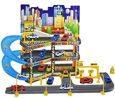 Kids 3 Level City Car Park Toy Garage Petrol Station Play Set + 4 Cars Vehicles • 12.45£