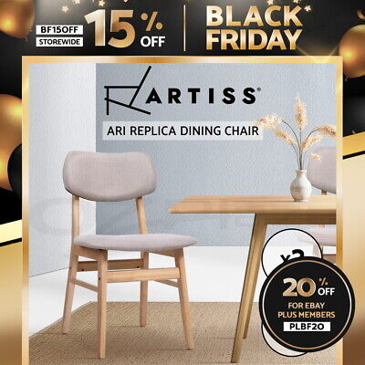 AU135.90 • Buy Artiss Dining Chairs Retro Replica Kitchen Cafe Wood Chair Fabric Pad Beige X2
