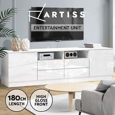 AU189.95 • Buy Artiss TV Cabinet Entertainment Unit Stand High Gloss Furniture White 180cm