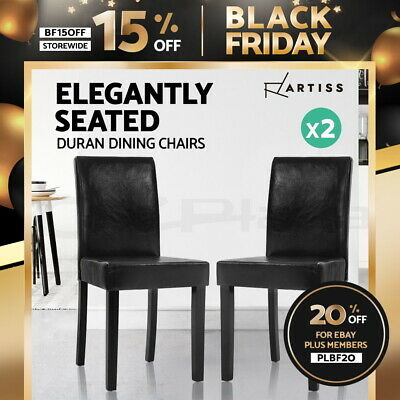 AU92.95 • Buy Artiss 2x Dining Chairs Leather Pad Chair High Back Wood Cafe Kitchen Black