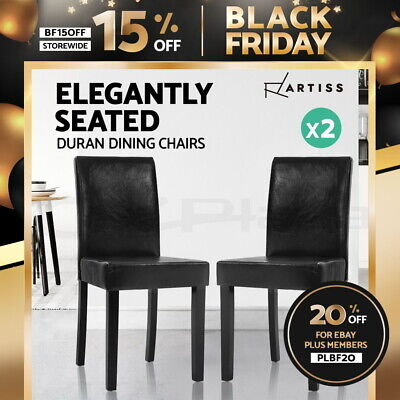 AU135.95 • Buy Artiss 2x Dining Chairs PU Leather Pad Chair High Back Wood Cafe Kitchen Black