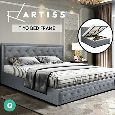 AU339 • Buy Artiss Bed Frame Queen Size Gas Lift Base With Storage Mattress Fabric