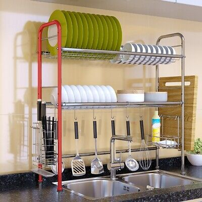 AU68.98 • Buy 2 Tier Dish Drying Rack Drainer Kitchen Storage Holder Over Sink Stainless Steel