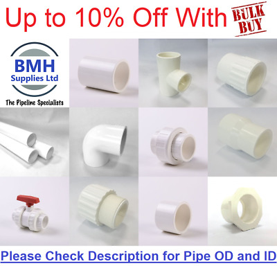£2.65 • Buy White Swimming Pool/Pond Pressure Pipe & Fittings Solvent 1 1/2  & 2