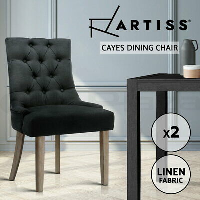 AU202.95 • Buy Artiss Dining Chairs French Provincial Wooden Fabric Retro Cafe Chairs Black X2