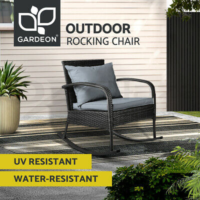 AU99 • Buy Gardeon Outdoor Furniture Rocking Chair Wicker Garden Patio Lounge Setting Black