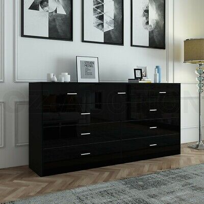 AU269.95 • Buy High Gloss 9 Chest Of Drawers Tallboy Dresser Table Storage Bedroom Cabinet BK