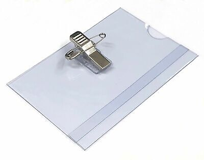 Conference Or Visitor Badge Holders Name Badges Safety Pin Combi Clip 60 X 90 Mm • 0.99£