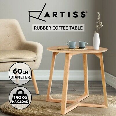 AU76.90 • Buy Artiss Coffee Table Round Side Tables Nightstand Bedside Furniture Wooden Beige