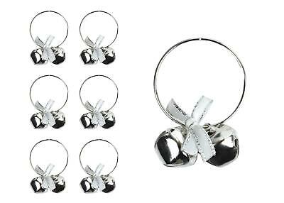 £7.99 • Buy 6 Napkin Rings Silver Bells Metal Christmas Xmas Party Table Festive Set Round