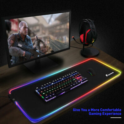 Non-Slip Mouse Pad Desk Mat For Keyboard Gaming Computer Black W/ LED RGB Light • 12.59£