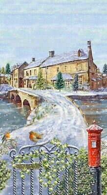 Winter Cottage Panel 100% Cotton Quilting Fabric English Christmas Robin Scene • 15.99£