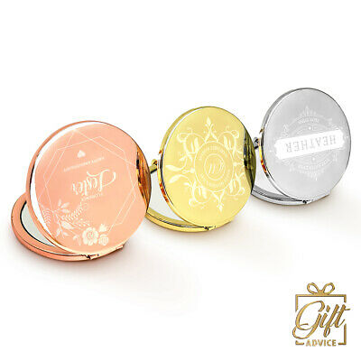 Personalized Vanity Compact Mirror Customize Engraved Round Christmas Gift • 19.99£