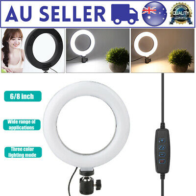 AU22.69 • Buy 6 / 8in Dimmable LED Ring Fill Light Photography Camera Video Make Up Lamp AU