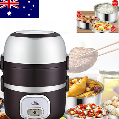 AU30.51 • Buy 3 Layers Portable Electric Lunch Box Warmer Cooker Food Steamer Container Pot AU