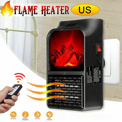 $17.24 • Buy Portable Electric Space Heater Fireplace Flame Fan Mini Air Warmer Blower Silent