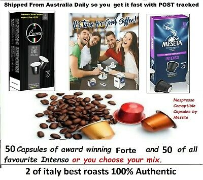 AU29.95 • Buy 100 X Nespresso Coffee Capsules Compatible Mixed Pods 2 ITALY Best Roast Flavor