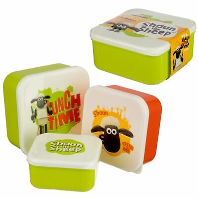 Shaun The Sheep Set Of Three Plastic Lunch Sandwich Picnic Boxes Box Storage • 6.45£