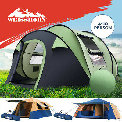 AU149.90 • Buy Weisshorn Instant Pop Up Camping Tent 4/8/10 Person Family Hiking Tents