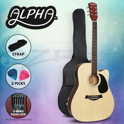"""AU98.95 • Buy Alpha 41"""" Inch Electric Acoustic Guitar Wooden Classical Full Size EQ Bass Natur"""