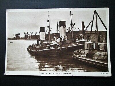 £2.50 • Buy TUGS IN ROYAL DOCK, GRIMSBY - RAPHAEL TUCK & SONS No GMBY5 (1950s)