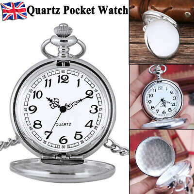 Vintage Quartz SILVER Pocket Watch With Chain 1920's Classic Peaky Blinder Style • 5.59£