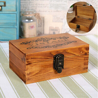 UK Vintage Wooden Jewellery Box With Metal Lock & Key Trinket Chest Gift Case • 9.26£