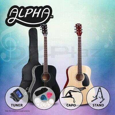"""AU89.95 • Buy Alpha 41"""" Inch Wooden Acoustic Guitar Classical Folk Full Size Dreadnought Capo"""