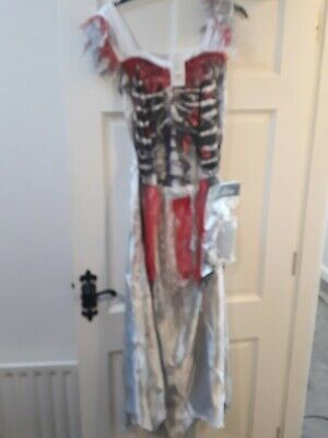 Kids Zombie Bride Dress With Wig Age 12/14 Years • 6.50£